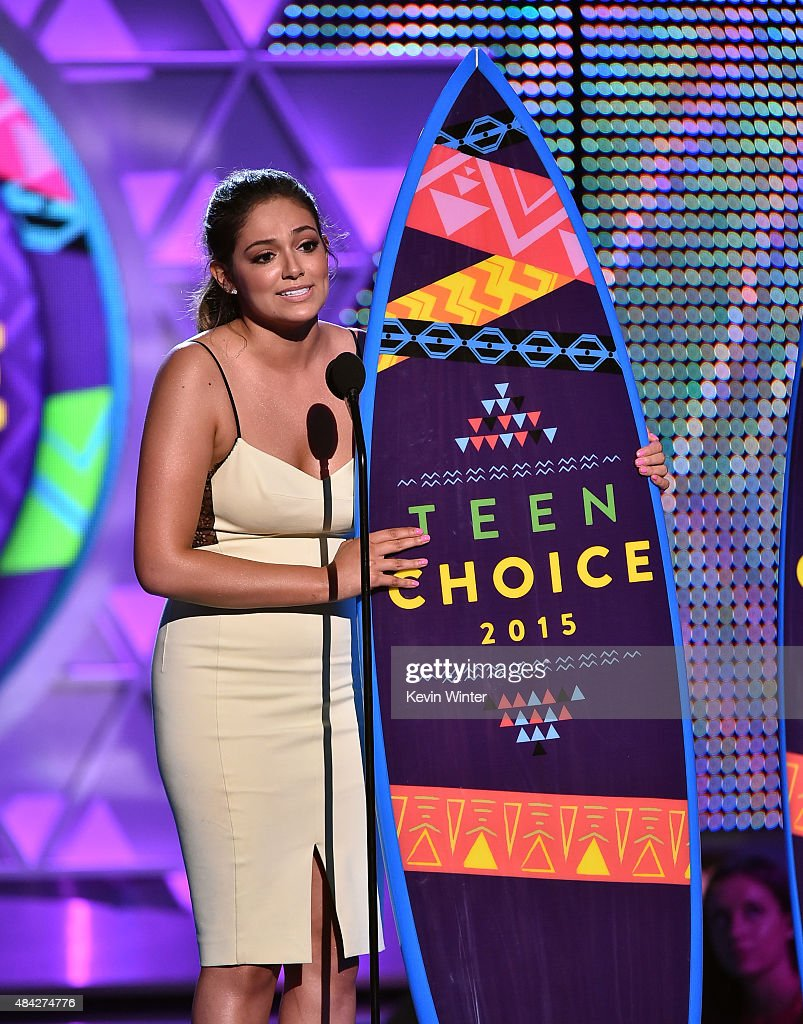Blogger Bethany Mota accepts the Choice Web Star: Female onstage during the Teen Choice Awards 2015 at the USC Galen Center on August 16, 2015 in Los Angeles, California.
