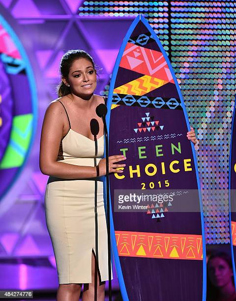 Blogger Bethany Mota accepts the Choice Web Star Female onstage during the Teen Choice Awards 2015 at the USC Galen Center on August 16 2015 in Los...
