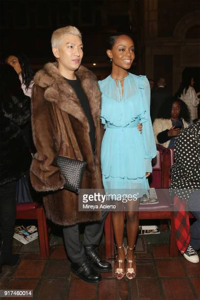 Blogger Bryanboy and actress Ashleigh Murray attend the Dennis Basso fashion show at St Bartholomew's Church on February 12 2018 in New York City