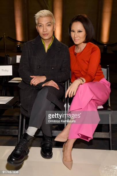 Blogger Bryanboy and correspondent Alina Cho attend the Oscar De La Renta fashion show during New York Fashion Week The Shows at The Cunard Building...