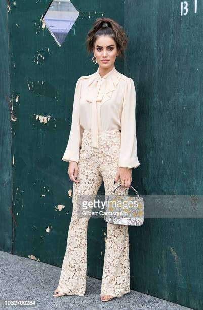 Blogger Camila Coelho is seen arriving to Michael Kors Collection SS19 fashion show during New York Fashion Week at Pier 17 on September 12 2018 in...