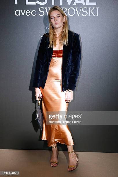 Blogger Camille Charriere wearing Swarovski jewelry attends the Vogue Fashion Festival at Hotel Potocki on November 3 2016 in Paris France