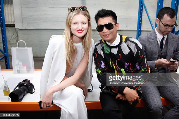 Blogger Candice Lake and BrianBoy attend the Christopher Esber show during MercedesBenz Fashion Week Australia Spring/Summer 2013/14 at 10 Carrington...