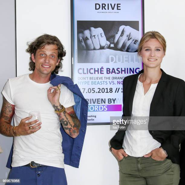 Blogger Carl Haupt and former German fencer and olympic gold medalist Britta Heidemann during the discussion panel of Cliche Bashing 'Don't believe...