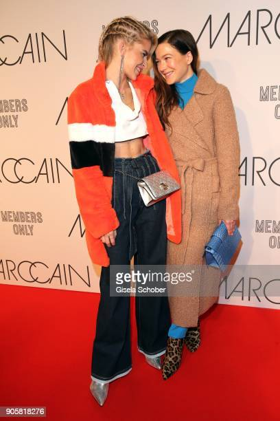 Blogger Caro Daur and Actress Hannah Herzsprung during the Marc Cain Fashion Show Berlin Autumn/Winter 2018 at metro station Potsdamer Platz at on...
