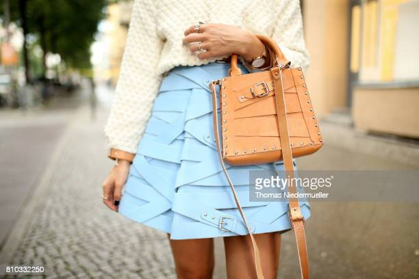 Blogger Carolin Faerber wearing a jacket by Marina Hoermanseder is seen during the MercedesBenz Fashion Week Berlin Spring/Summer 2018 at Kaufhaus...