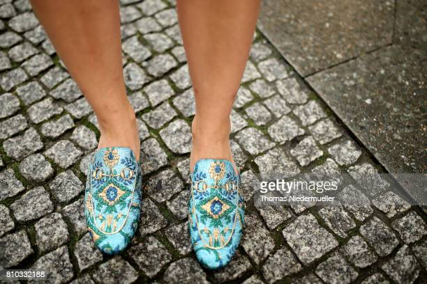 Blogger Carolin Faerber wearing shoes by Gucci is seen during the MercedesBenz Fashion Week Berlin Spring/Summer 2018 at Kaufhaus Jandorf on July 7...