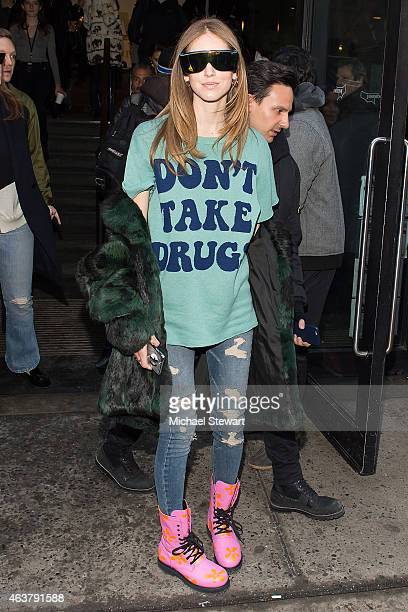 Blogger Chiara Ferragni seen departing the Jeremy Scott fashion show during MADE Fashion Week at MILK Studios on February 18 2015 in New York City