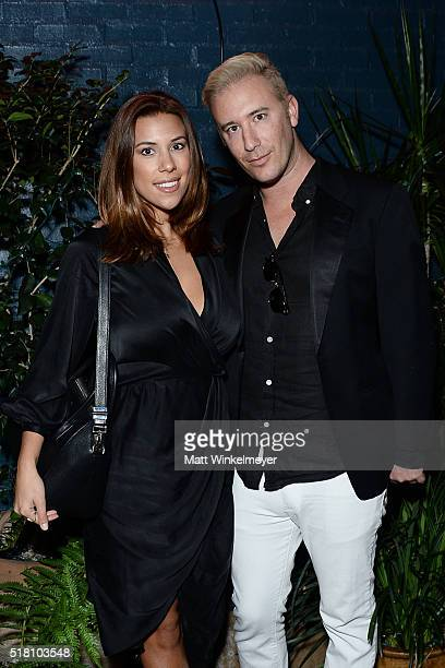 Blogger Devin Brugman and Zack Tanck attend the Bollare 10 Year Anniversary Dinner Celebration at Palihouse West Hollywood on March 29 2016 in West...