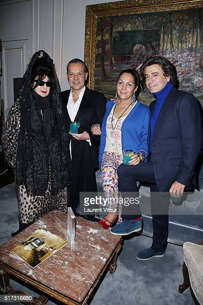 Blogger Diane Pernet guest Princess Hermine de Clermont Tonnerre and Hair Dresser Alexandre Zouari attend 'Blue Angles Suite' Launch Party at Hotel...