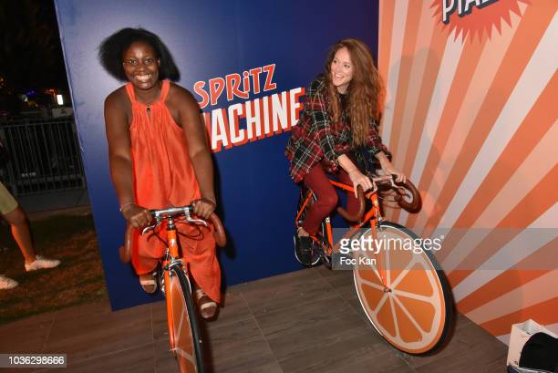 Blogger Elisa Les Bons Tuyaux and comedian/TV presenter Cyrielle Joelle attend during the Spritz Plazza Party at the 118 Warner on September 19 2018...