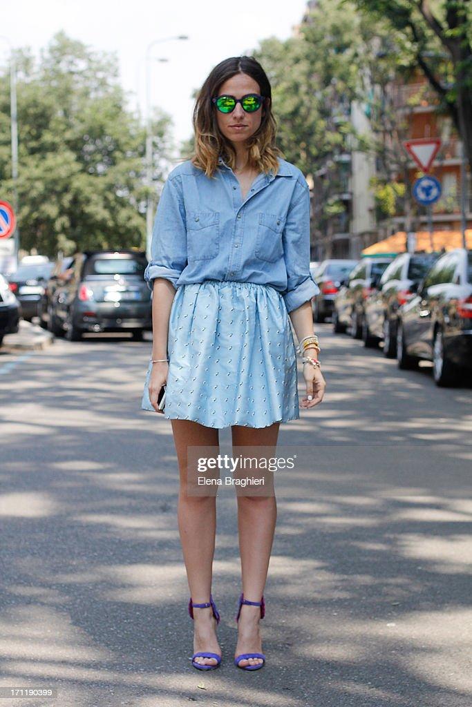 Blogger Erika Boldrin during Milan Fashion Week Menswear Spring/Summer 2014 on June 22, 2013 in Milan, Italy.