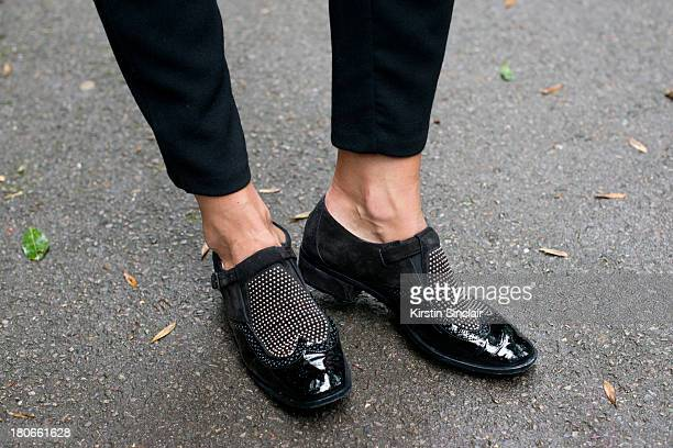 Blogger Hedvig Opshaug wears Jimmy Choo shoes on day 3 of London Fashion Week Spring/Summer 2013 on September 15 2013 in London England