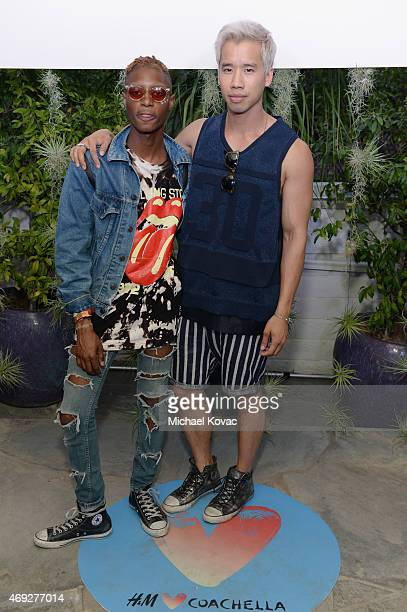 Blogger Jared Eng and guest attend the Official HM Loves Coachella Party at the Parker Palm Springs on April 10 2015 in Palm Springs California