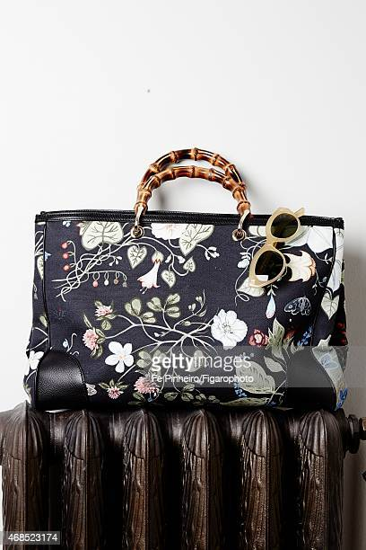 Blogger Jeanne Damas's style inspirations are photographed for Madame Figaro on December 3 2014 in Paris France Bag sunglasses PUBLISHED IMAGE CREDIT...