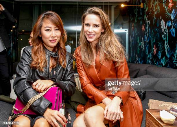 Blogger Ji Kim and blogger Alexandra Lapp during the 'Marc Cain Mysteriously' fragrance line presentation at Lovelace Hotel on October 26 2017 in...