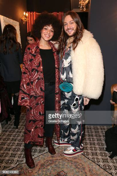 Blogger Julia Dalia and Blogger Riccardo Simonetti during the Marcel Ostertag Fashion Presentation at Schlueter Palais on January 17 2018 in Berlin...