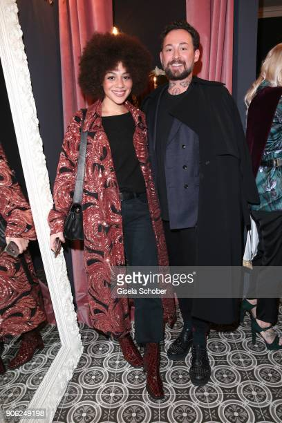Blogger Julia Dalia and Fashion designer Marcel Ostertag during the Marcel Ostertag Fashion Presentation at Schlueter Palais on January 17 2018 in...