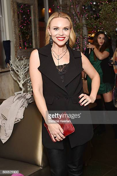 Blogger Julie Solomon attends #GivingTuesdayShoeDazzle Hosted By Olivia Culpo Benefiting Project Sunshine at Pump on December 8, 2015 in West...