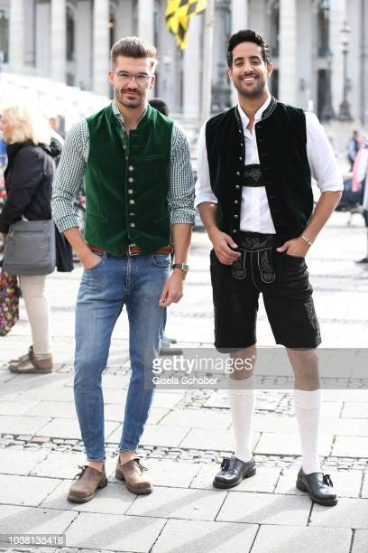 Blogger Justus Frederic Hansen and Sami Slimani during the 'Fruehstueck bei Tiffany' at Tiffany Store ahead of the Oktoberfest on September 22 2018...