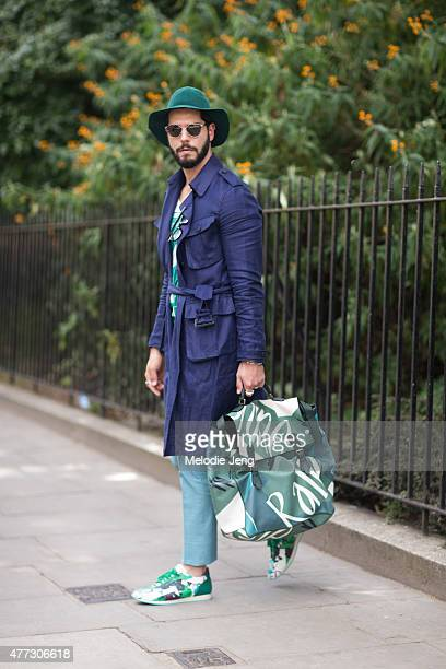 Blogger Kadu Dantas wears a Burberry outfit during The London Collections  Men SS16 at Perk s Field f8b44e832d8