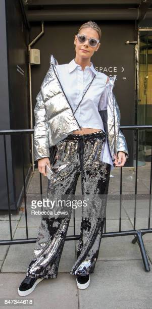 Blogger Kate Tik wears Milly on day one of London Fashion Week September 2017 on September 15 2017 in London England