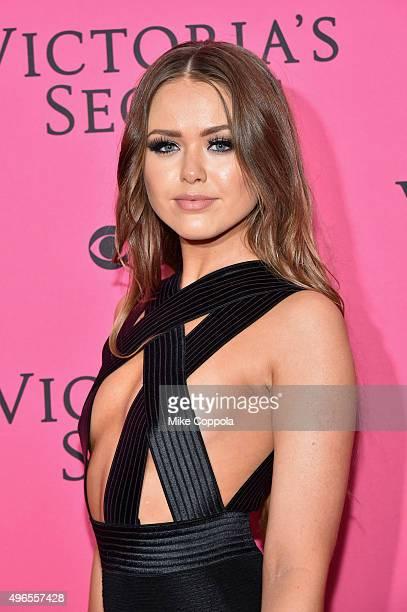 Blogger Kristina Bazan attends the 2015 Victoria's Secret Fashion Show at Lexington Avenue Armory on November 10 2015 in New York City