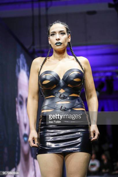 Blogger Lamiya Slimani walks the runway during the Maybelline Show 'Urban Catwalk Faces of New York' at Vollgutlager on January 18 2018 in Berlin...