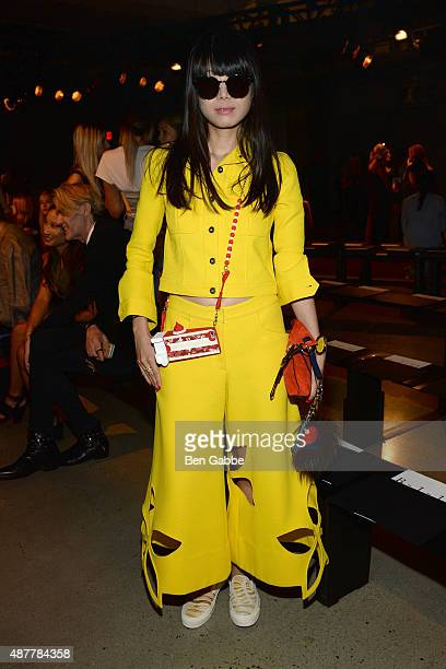 Blogger Leaf Greener attends the Sally LaPointe Fashion Show during Spring 2016 New York Fashion Week at Skylight Modern on September 11 2015 in New...
