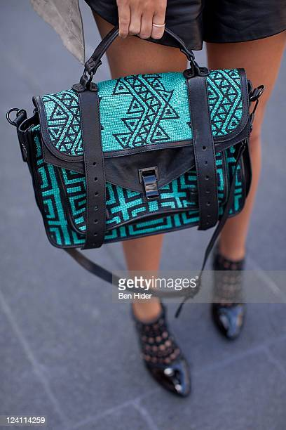 Blogger Leandra Madine is seen wearing a Proenza Schouler bag on the streets of Manhattan during Spring 2012 Fashion Week on September 8 2011 in New...