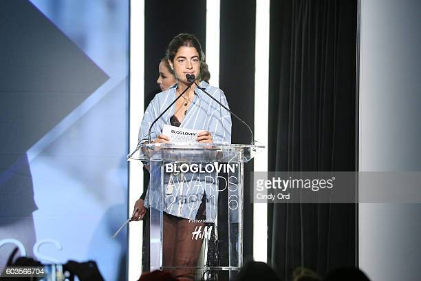 Blogger Leandra Medine speaks on stage during the Blog Lovin' Awards at Industria Superstudio on September 12 2016 in New York City