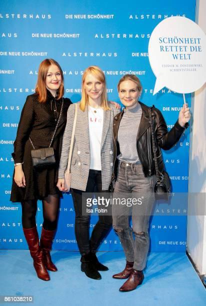 Blogger Lisa van Houtem Katharina Charpian and Anna Weilberg of Femtasticscom during the Alsterhaus Beauty Opening 'Die Neue Schönheit' on October 13...