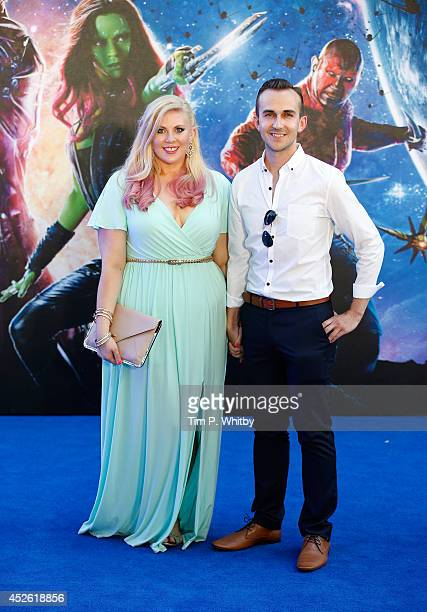 Blogger Louise Pentland and guest attend the UK Premiere of 'Guardians of the Galaxy' at Empire Leicester Square on July 24 2014 in London England
