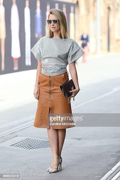 Blogger Mandy Shadforth poses at MercedesBenz Fashion Week Australia 2015 at Carriageworks on April 13 2015 in Sydney Australia