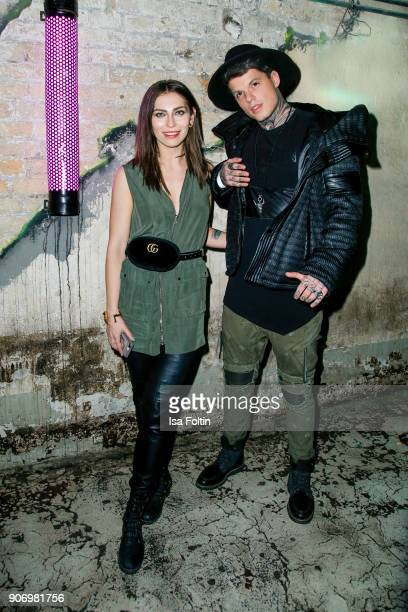 Blogger Masha Sedgwick and model and influencer Tommy Hey during the Maybelline Show 'Urban Catwalk Faces of New York' at Vollgutlager on January 18...