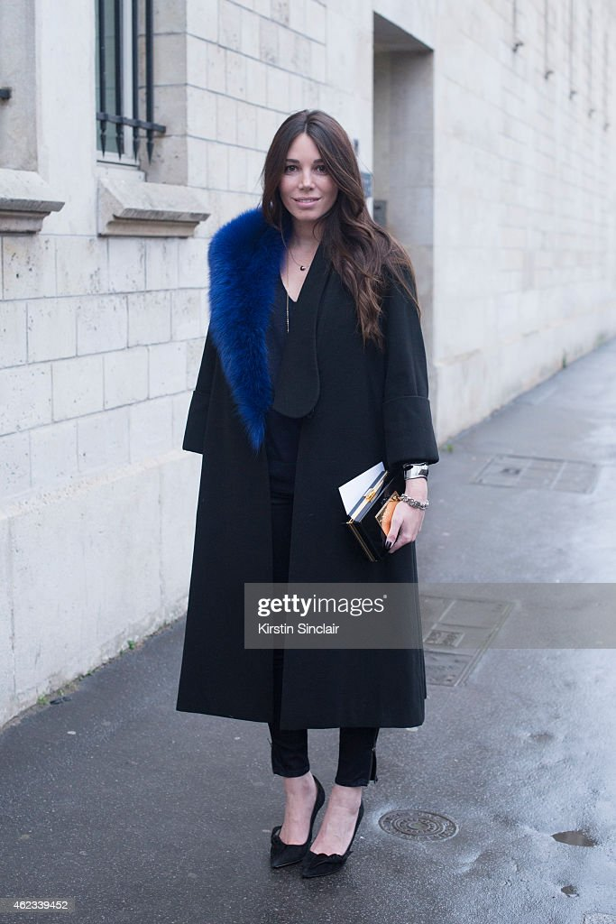 Blogger Natacha Steven wears Isabel Marrant shoes, Artelier MX, and coat by Anouki on day 2 of Paris Haute Couture Fashion Week Spring/Summer 2015, on January 26, 2015 in Paris, France.
