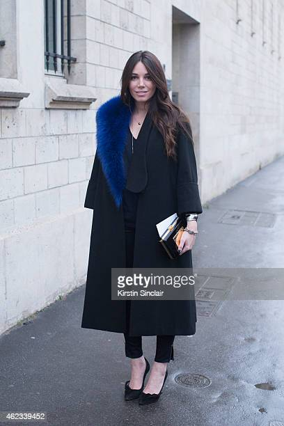 Blogger Natacha Steven wears Isabel Marrant shoes Artelier MX and coat by Anouki on day 2 of Paris Haute Couture Fashion Week Spring/Summer 2015 on...
