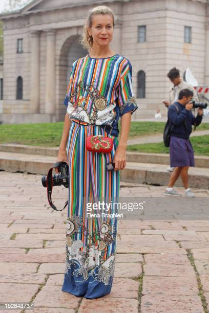 Blogger Natalie Joos attends the Roberto Cavalli show during Milan Fashion Week Womenswear Spring/Summer 2013 on September 24 2012 in Milan Italy