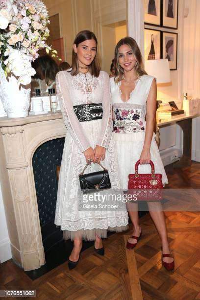 Blogger Nina Schwichtenberg and AnnKathrin Goetze wearing a dress by Dior during the private Maison Christian Dior Paris dinner on November 28 2018...