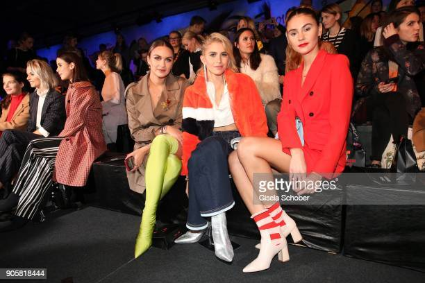 Blogger Nina Suess and Caro Daur and Model Stefanie Giesinger during the Marc Cain Fashion Show Berlin Autumn/Winter 2018 at metro station Potsdamer...