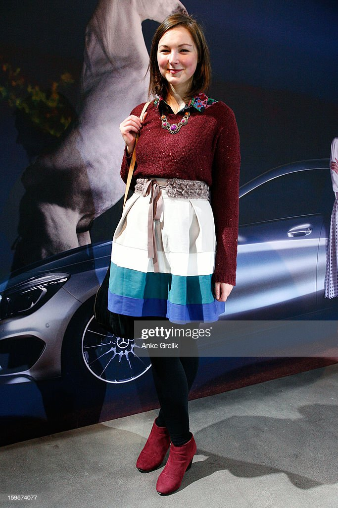 Blogger Patrizia attends Mercedes-Benz Fashion Week Autumn/Winter 2013/14 at the Brandenburg Gate on January 16, 2013 in Berlin, Germany.