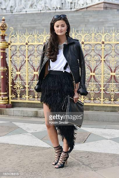 Blogger Peony Lim wears Alaia shoes Blaque label skirt Valentino bag H and M t shirt Balenciaga jacket Zara jacket Paul Smith sunglasses vintage...