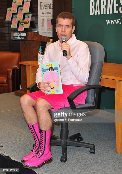 Blogger Perez Hilton attends a signing for his new book 'The Boy With Pink Hair' at Barnes Noble at The Grove on September 1 2011 in Los Angeles...