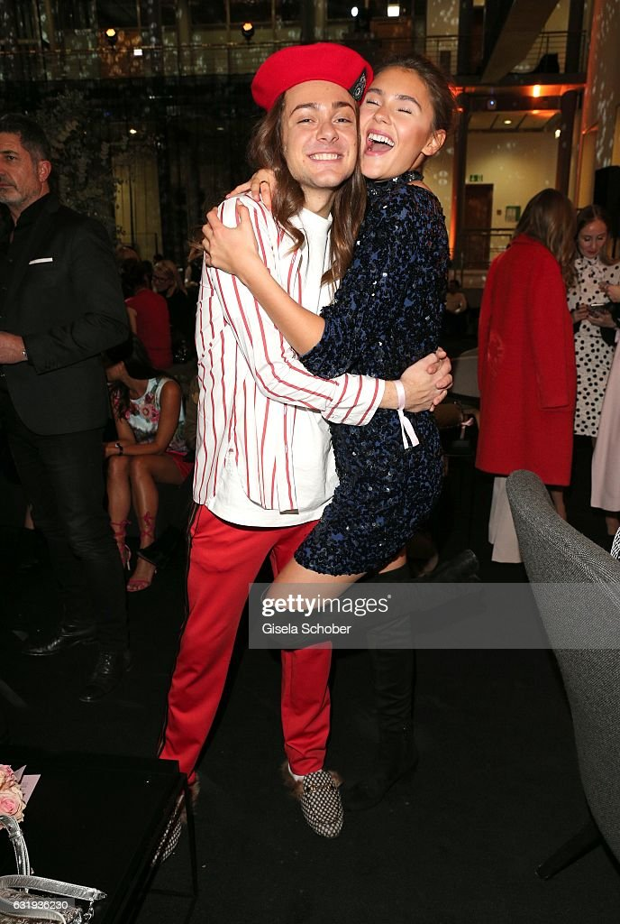 Blogger Riccardo Simonetti and Stefanie Giesinger during the Marc Cain fashion show fall/winter 2017 VIP Cocktail 'Ballet magnifique' at 'Telekom Representation' on January 17, 2017 in Berlin, Germany.
