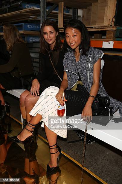 Blogger Sarah Donaldson and Margaret Zhang attend the Alex Perry show during MercedesBenz Fashion Week Australia 2014 at Carriageworks on April 7...