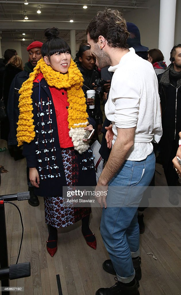 Blogger Susie Bubble talks with Eckhaus Latta fashion designers Zoe Latta and Mike Eckhart at Eckhaus Latta -Front Row during MADE Fashion Week Fall 2015 on February 16, 2015 in New York City.