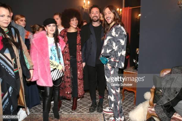 Blogger Suzie Grime Blogger Julia Dalia Fashion designer Marcel Ostertag and Blogger Riccardo Simonetti during the Marcel Ostertag Fashion...