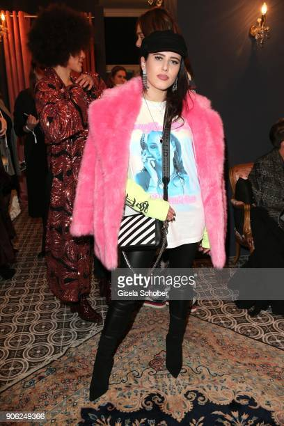 Blogger Suzie Grime during the Marcel Ostertag Fashion Presentation at Schlueter Palais on January 17 2018 in Berlin Germany