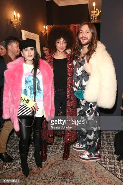 Blogger Suzie Grime Julia Dalia and Blogger Riccardo Simonetti during the Marcel Ostertag Fashion Presentation at Schlueter Palais on January 17 2018...
