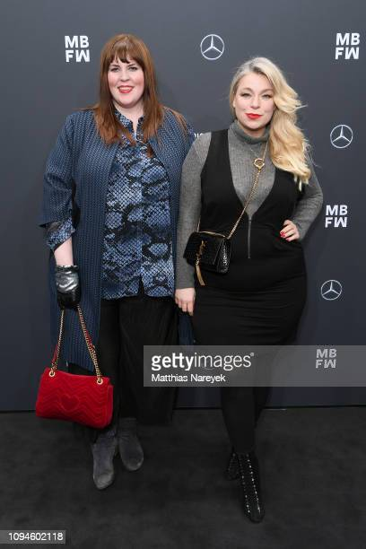 Blogger Tanja Marfo and Caterina Pogorzelski attend the NEONYT show during the Berlin Fashion Week Autumn/Winter 2019 at ewerk on January 15 2019 in...